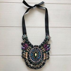 Jewelry - Black Ribbon Jeweled Medallion Bib Necklace